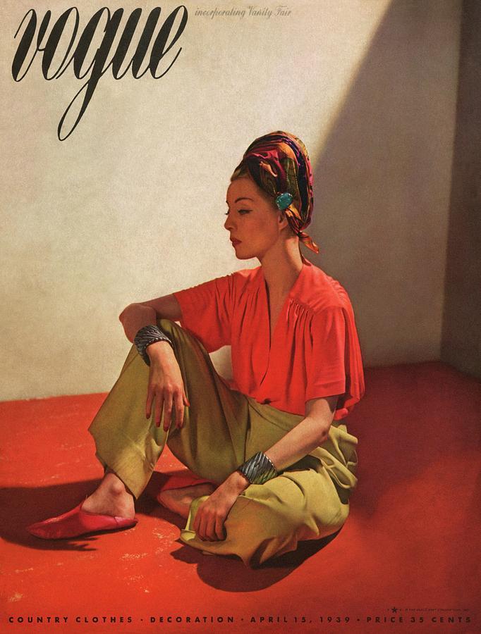 Vogue Cover Illustration Of Model Helen Bennett Photograph by Horst P. Horst