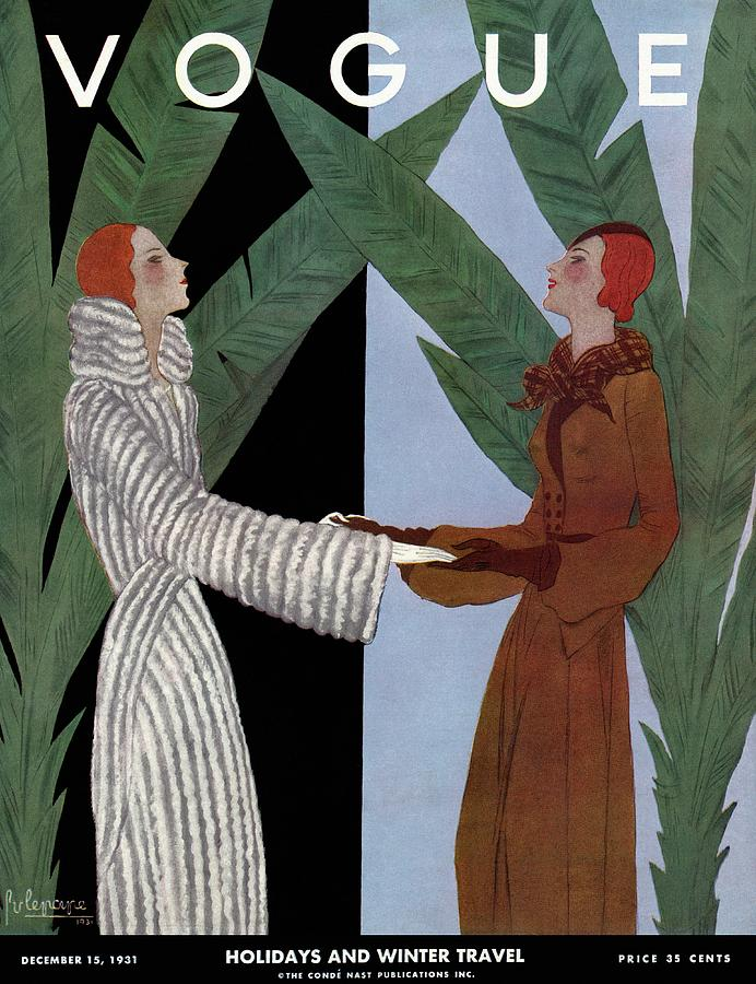 Vogue Cover Illustration Of Two Women Holding Photograph by Georges Lepape