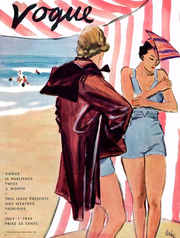 Vogue Cover Illustration Of Two Women At Beach Painting by Carl Oscar August Erickson
