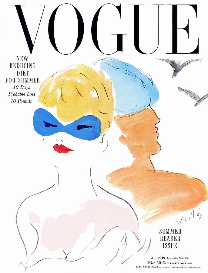 Vogue Cover Illustration Of Two Women Standing Photograph by Marcel Vertes