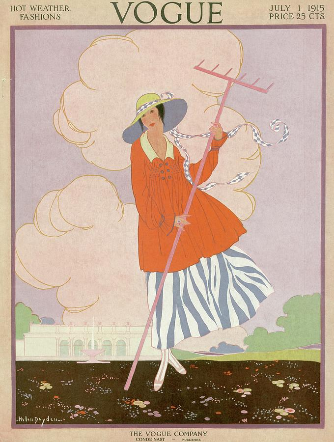 Vogue Cover Illustration Of Woman Holding Rake Photograph by Helen Dryden