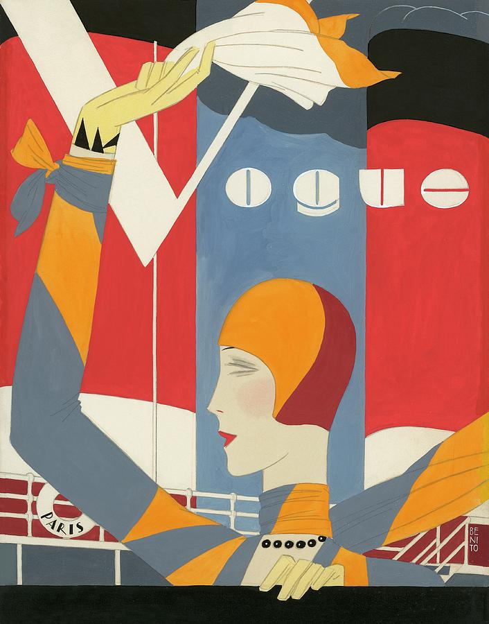 Vogue Cover Illustration Of Woman Waving Digital Art by Eduardo Garcia Benito