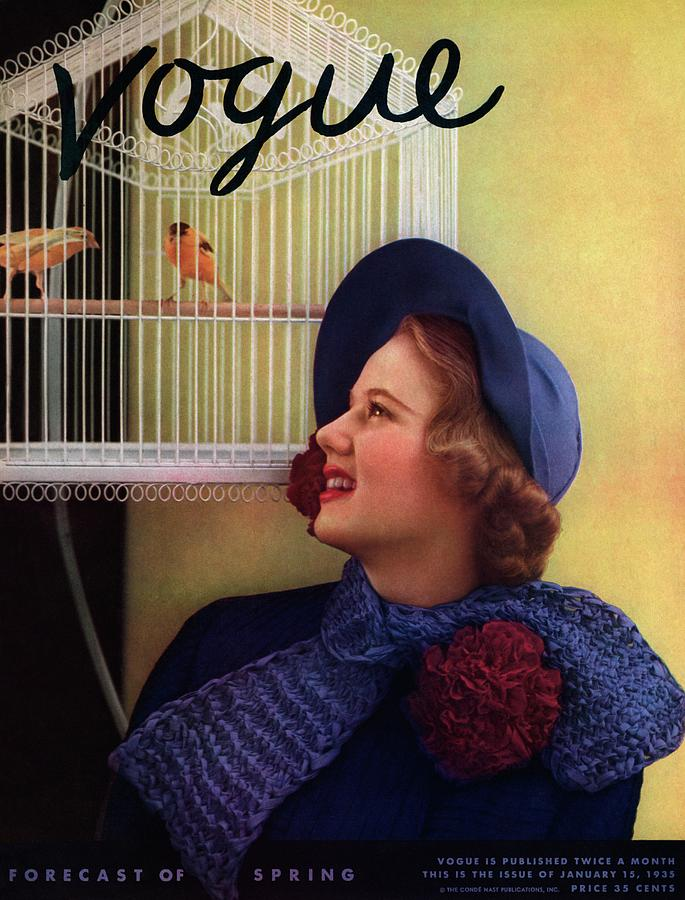 Vogue Cover Of Model Looking At Bird Cage Photograph by Edward Steichen