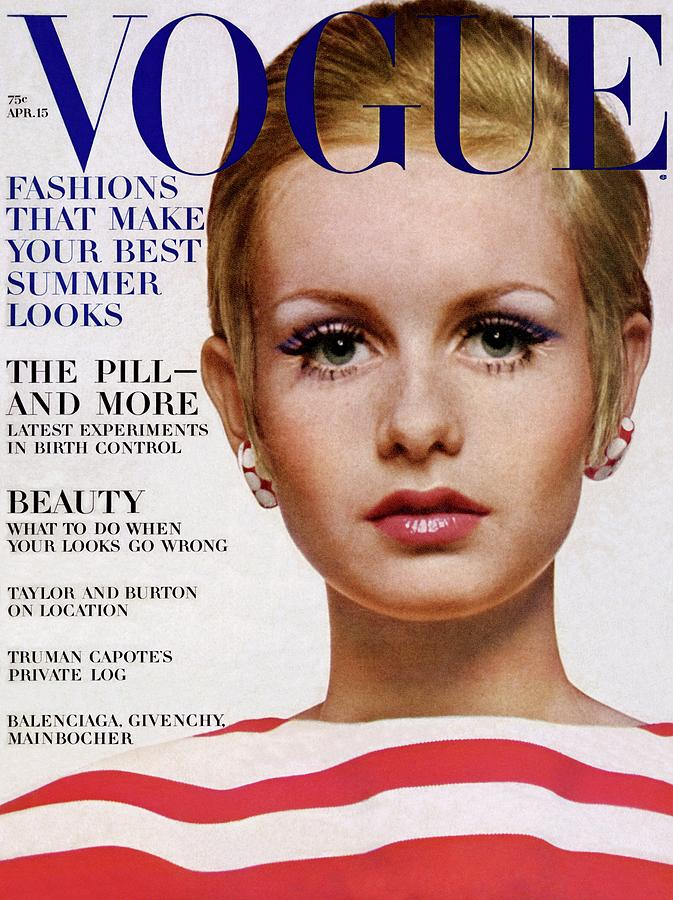 Vogue Cover Of Twiggy Photograph by Bert Stern
