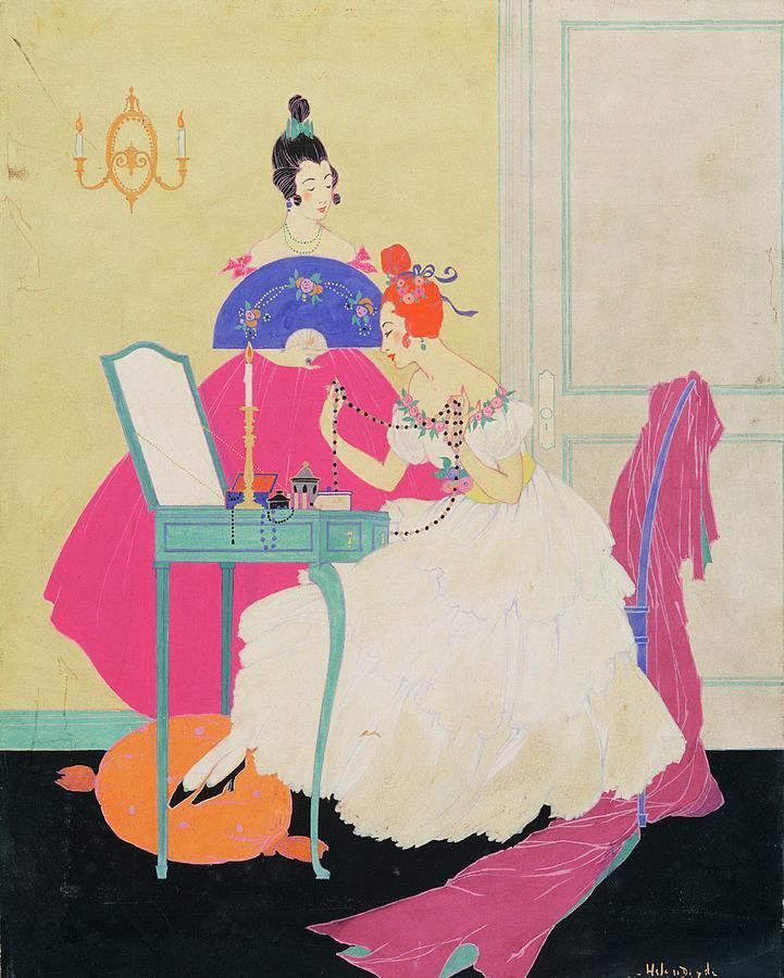 Vogue Illustration Of Two Women Around A Vanity Digital Art by Helen Dryden