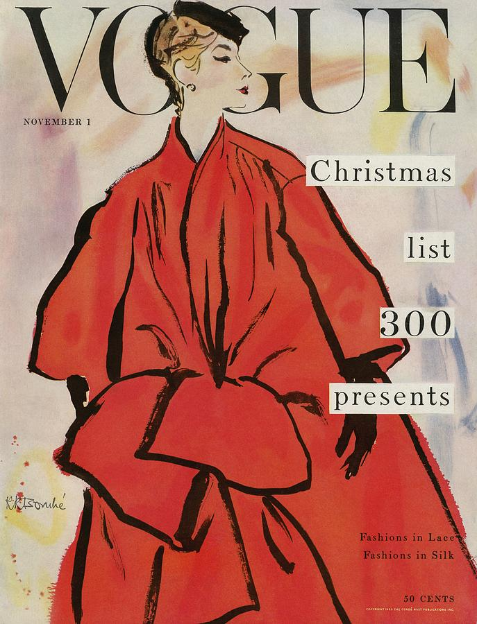 Vogue Magazine Cover Featuring A Woman In A Large Photograph by Rene R. Bouche