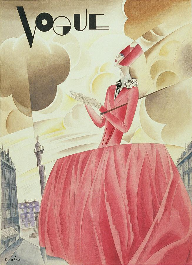 Vogue Magazine Cover Featuring A Woman In A Pink Digital Art by William Bolin