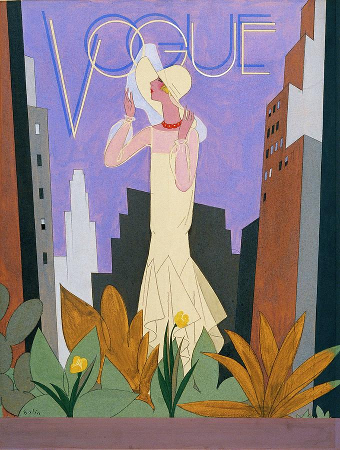 Vogue Magazine Cover Featuring A Woman In A White Digital Art by William Bolin