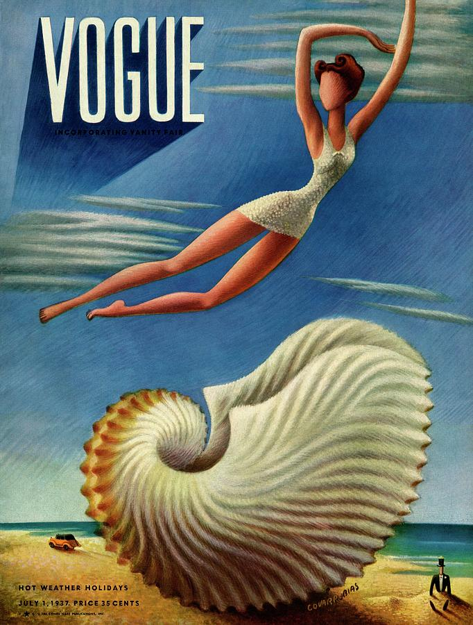 Vogue Magazine Cover Featuring A Woman Photograph by Miguel Covarrubias