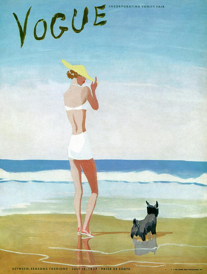 Vogue Magazine Cover Featuring A Woman On A Beach Painting by Eduardo Garcia Benito