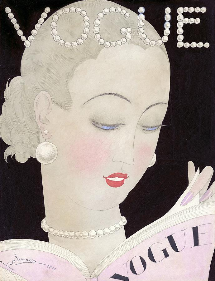 Vogue Magazine Cover Featuring A Woman Reading Digital Art by Georges Lepape