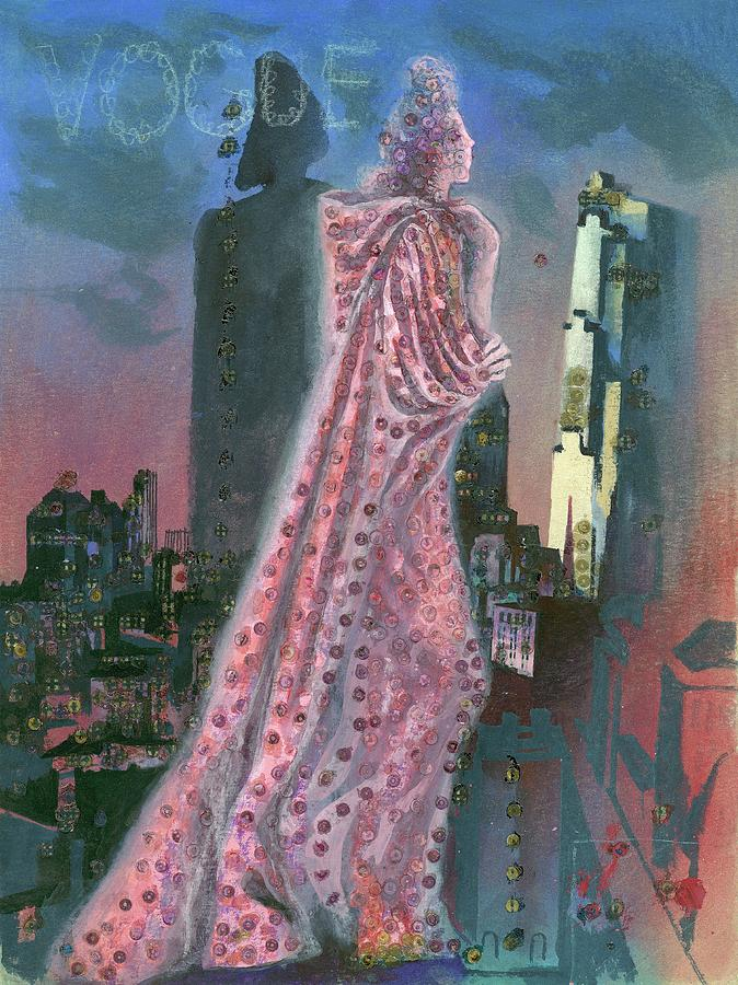 Vogue Magazine Cover Featuring A Woman Standing Digital Art by Pavel Tchelitchew