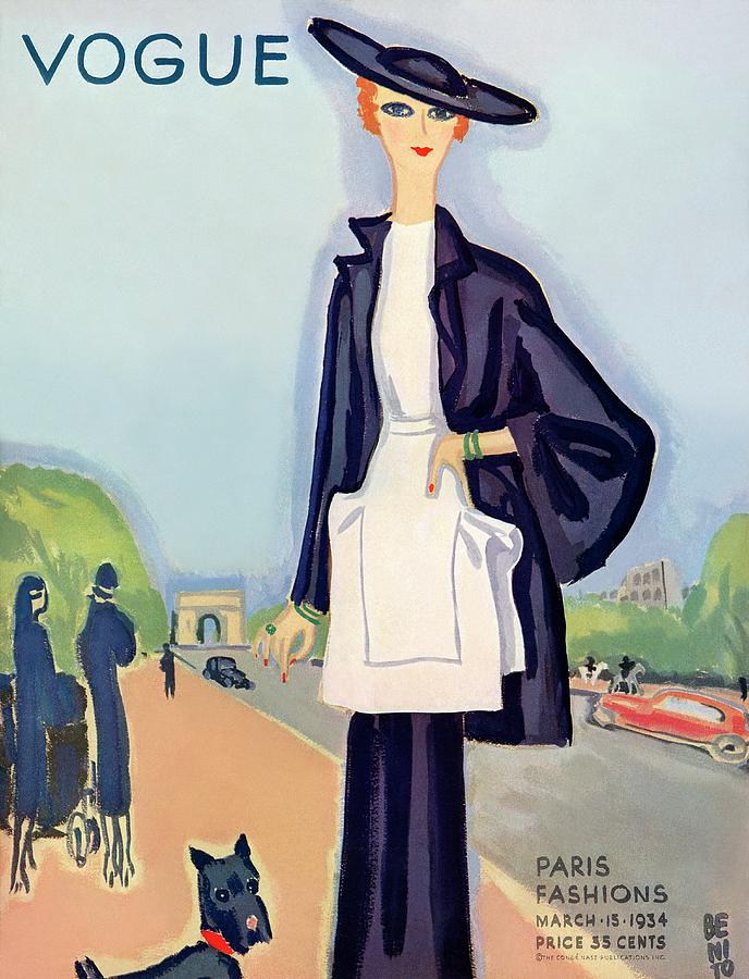Vogue Magazine Cover Featuring A Woman Walking Photograph by Eduardo Garcia Benito