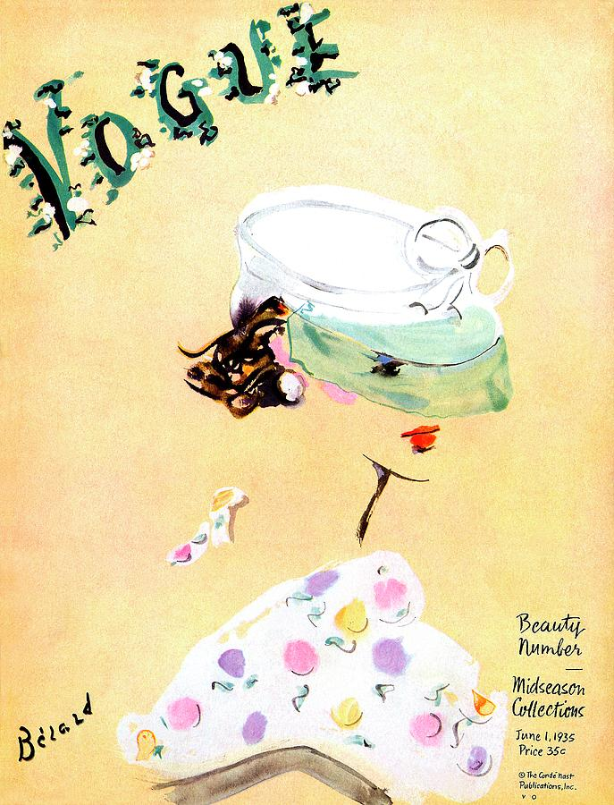 Vogue Magazine Cover Featuring A Woman Wearing Photograph by Christian Berard