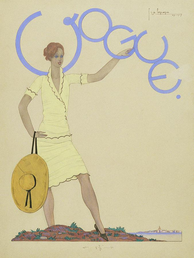 Vogue Magazine Cover Featuring A Woman Wearing Digital Art by Georges Lepape