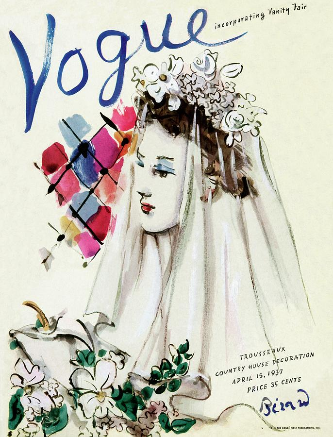 Vogue Magazine Cover Featuring An Illustration Photograph by Christian Berard