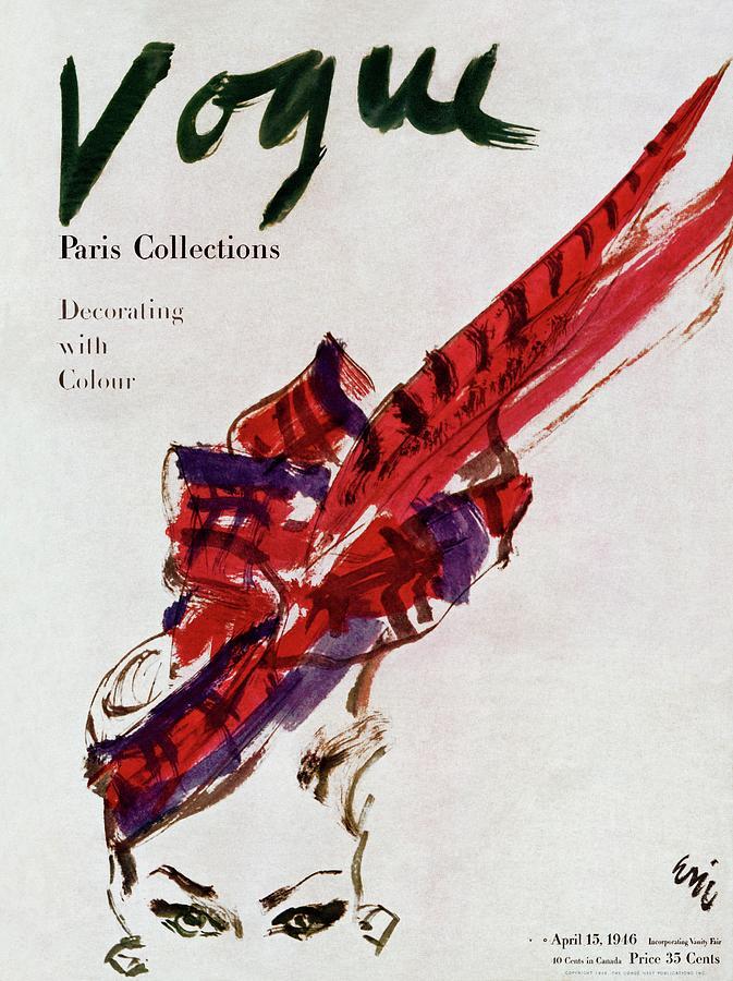 Vogue Magazine Cover Featuring Model Dorian Leigh Photograph by Carl Oscar August Erickson