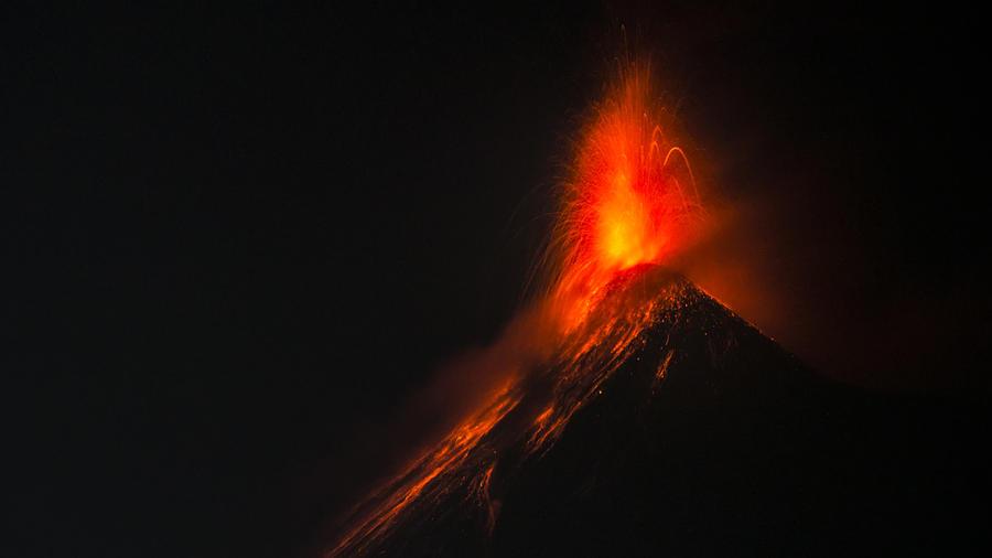 Volcan de Fuego (Volcano of Fire) by night, Antigua, Guatemala, Central America Photograph by Kryssia Campos