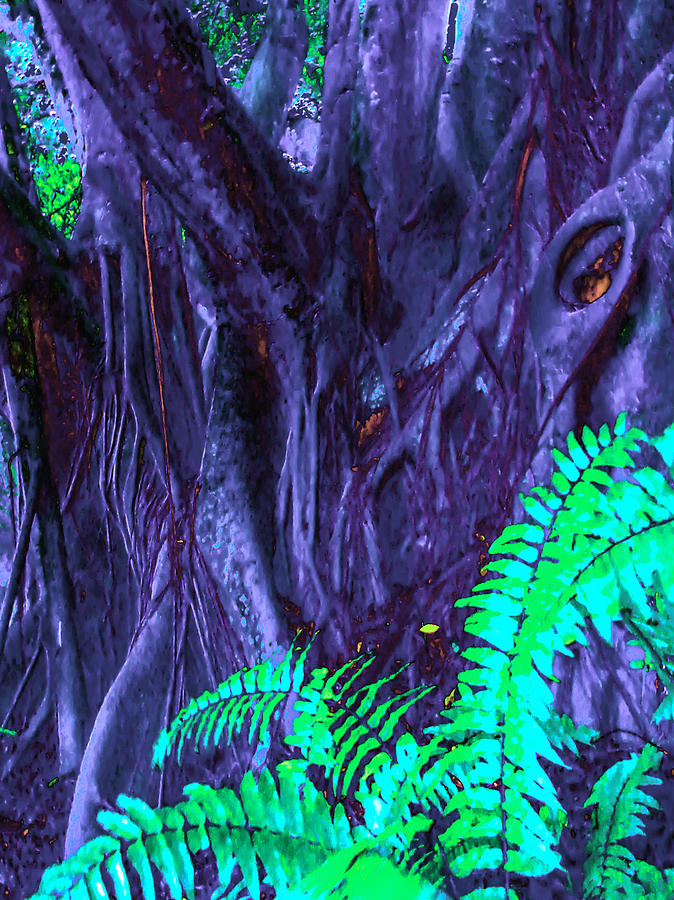 Abstract Digital Art - Volcanic Tree 2 by Bobbie Barth