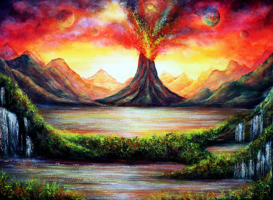 Volcano Painting by Ann Marie Bone
