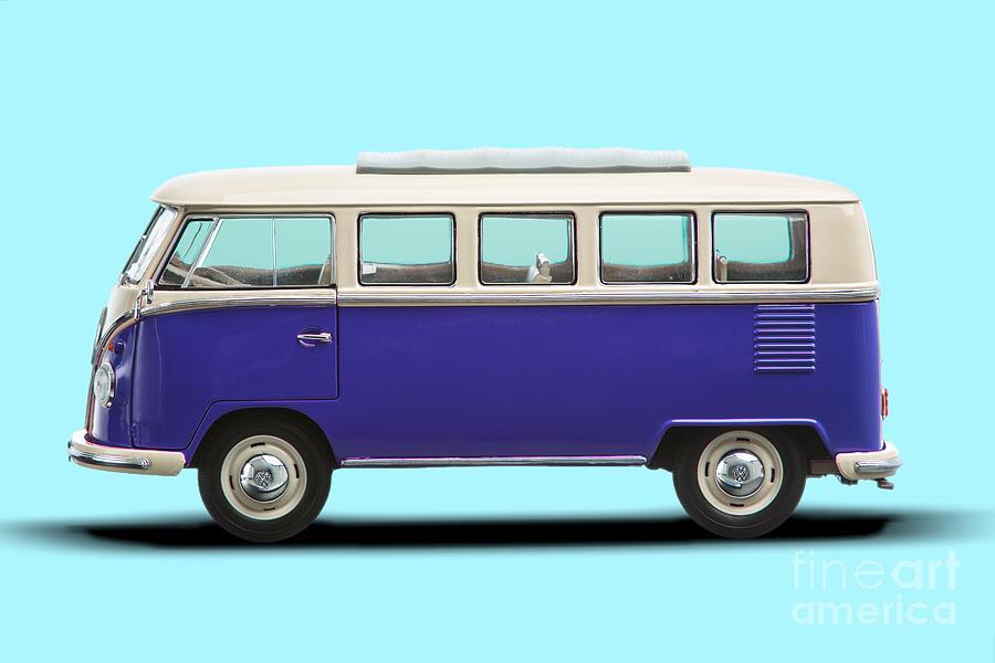 Volkswagen T1 Bus Bully Camper In Purple On Azul