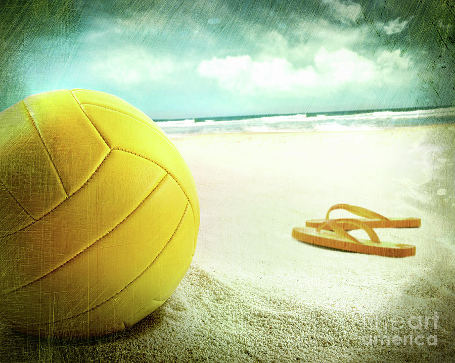 Ball Photograph - Volleyball In The Sand With Sandals by Sandra Cunningham