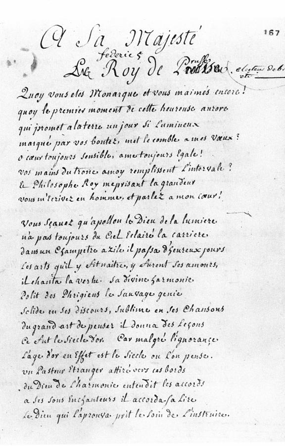 1740 Painting - Voltaire Letter, 1740 by Granger