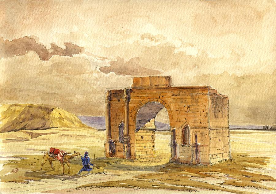 Volubilis Painting - Volubilis Mecknes ruins by Juan  Bosco