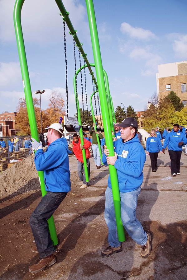 Community Photograph - Volunteers Constructing A Playground by Jim West