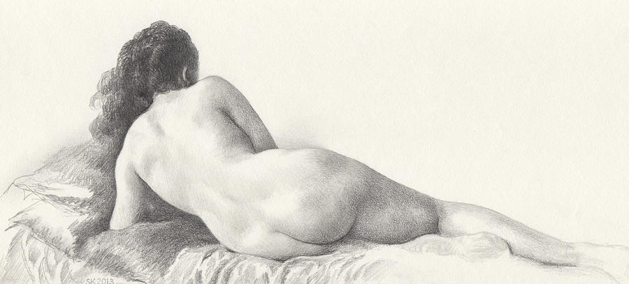 Voluptuous Reclining Nude Luxuriating on Victorian Settee after Eakins by Scott Kirkman