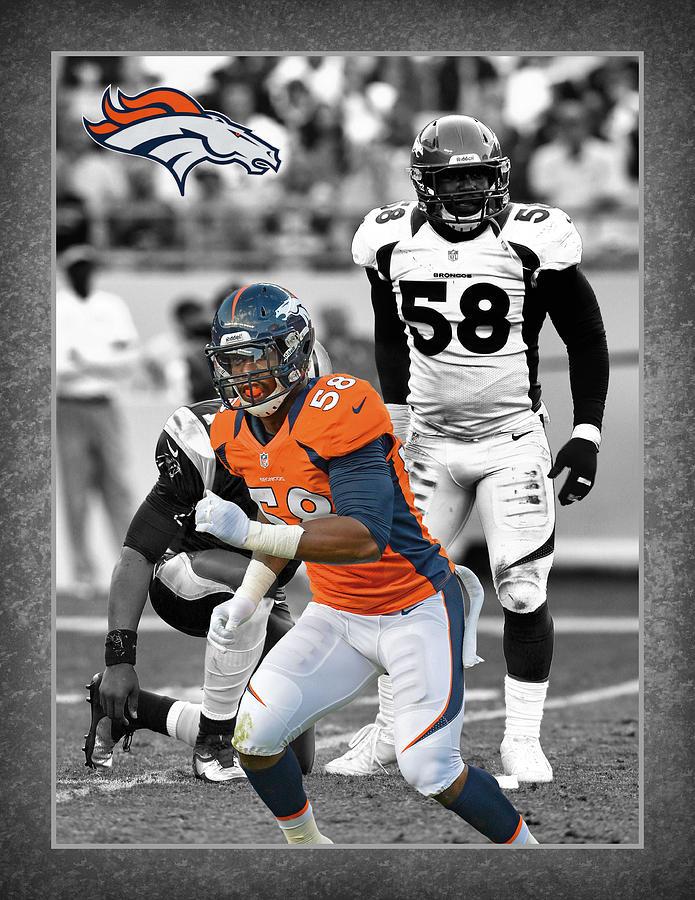 Von Miller Photograph - Von Miller Broncos by Joe Hamilton