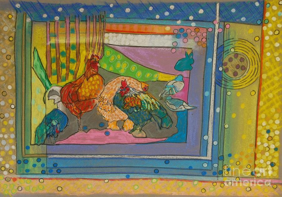 Chicken Painting - Vondelpark Chicken by Judith Van Praag