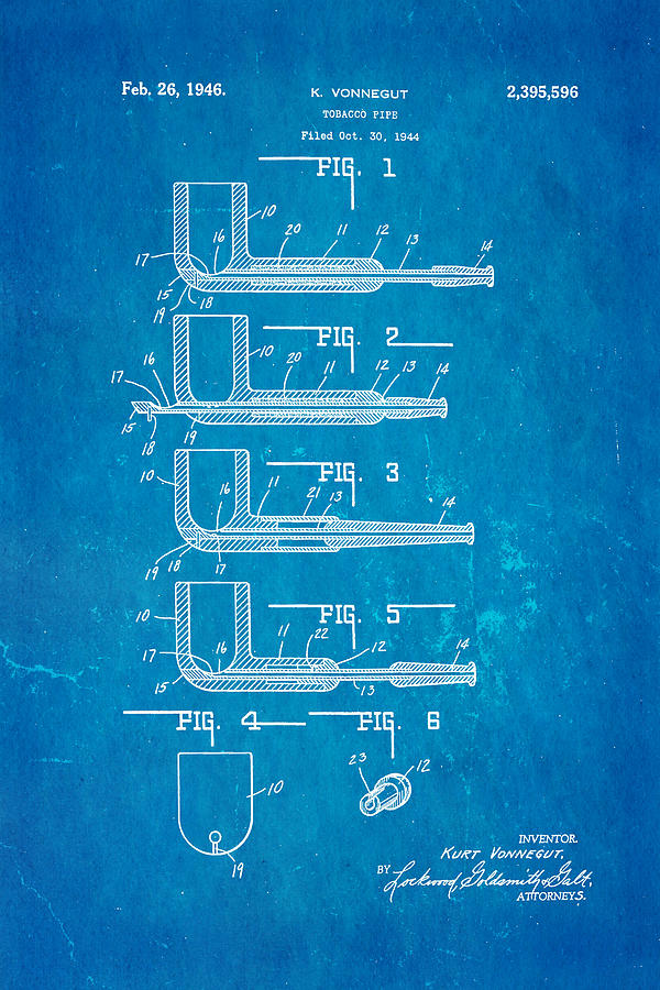 Vonnegut Tobacco Pipe Patent Art 1946 Blueprint Photograph By Ian