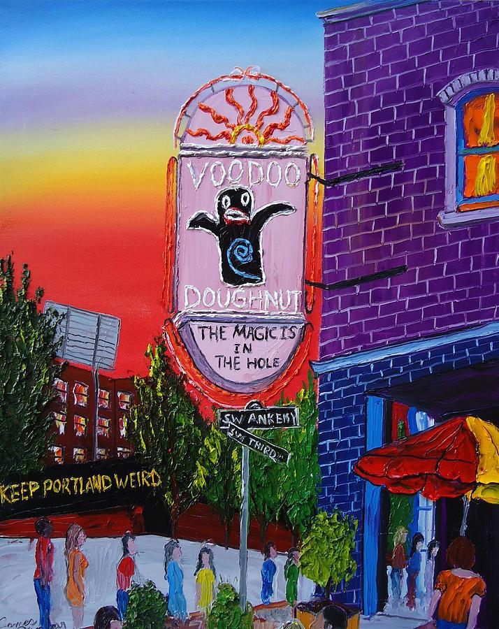 City Bridges Painting - Voodoo Doughnut Sign 4 by Portland Art Creations