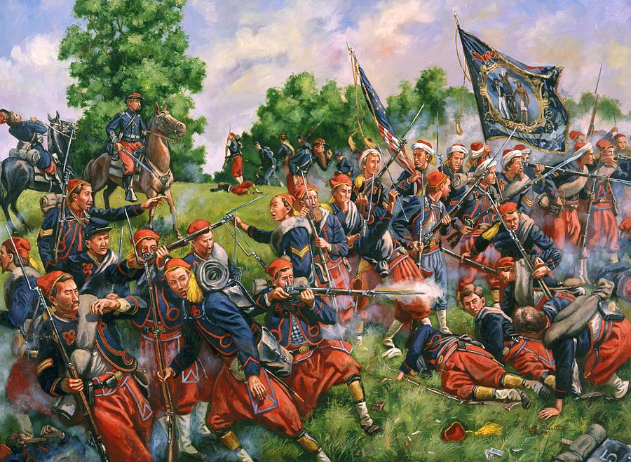 Civil Painting - Vortex Of Hell - 5th New York Duryees Zouaves - Battle Of Second Manassas, Virgina by Mark Maritato