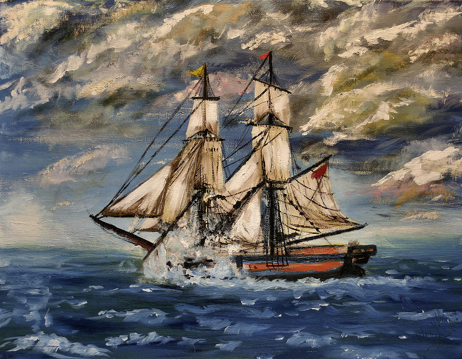 Galleon Painting - Voyage Of The Cloud Chaser by YoursByShores Isabella Shores