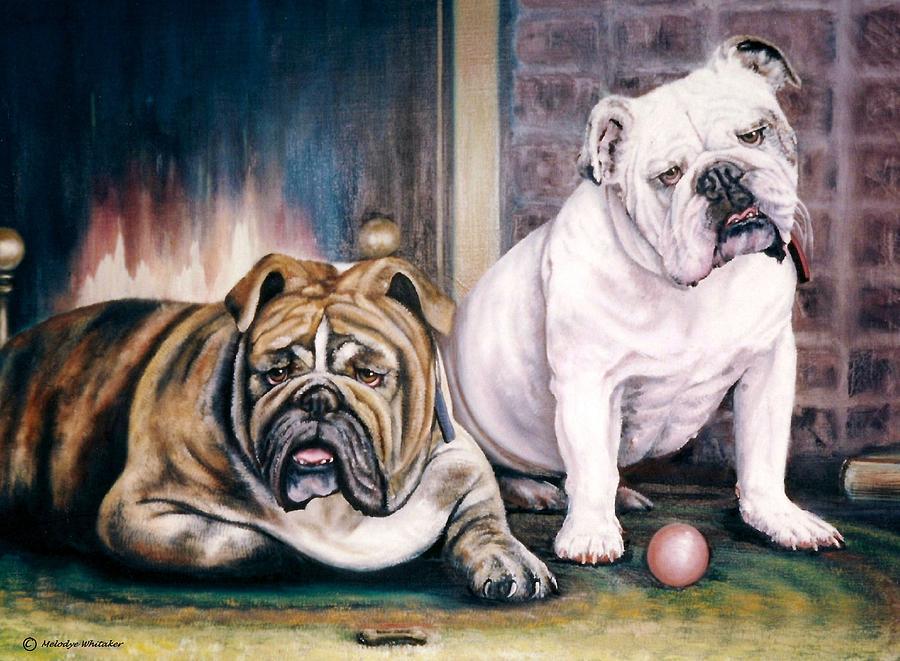 Animal Portrait Painting - Vs Bulldogs by Melodye Whitaker