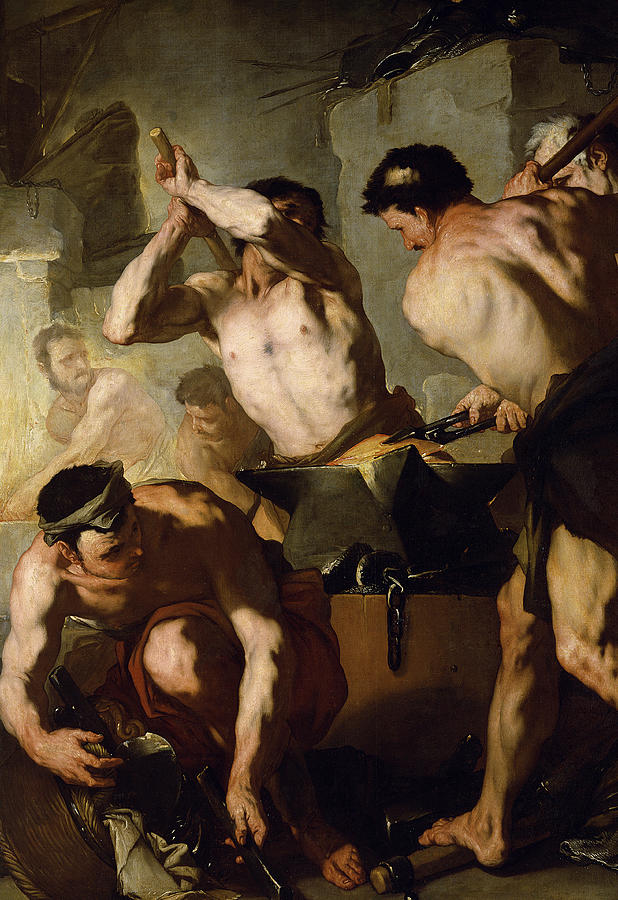 Aeneid Painting - Vulcans Forge by Luca Giordano