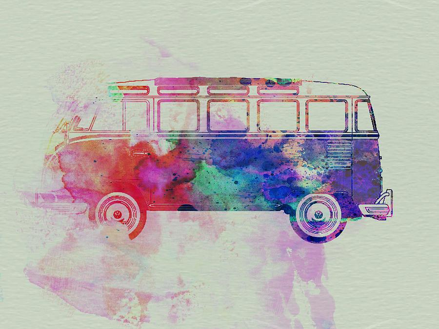 Vw Bus Painting - Vw Bus Watercolor by Naxart Studio