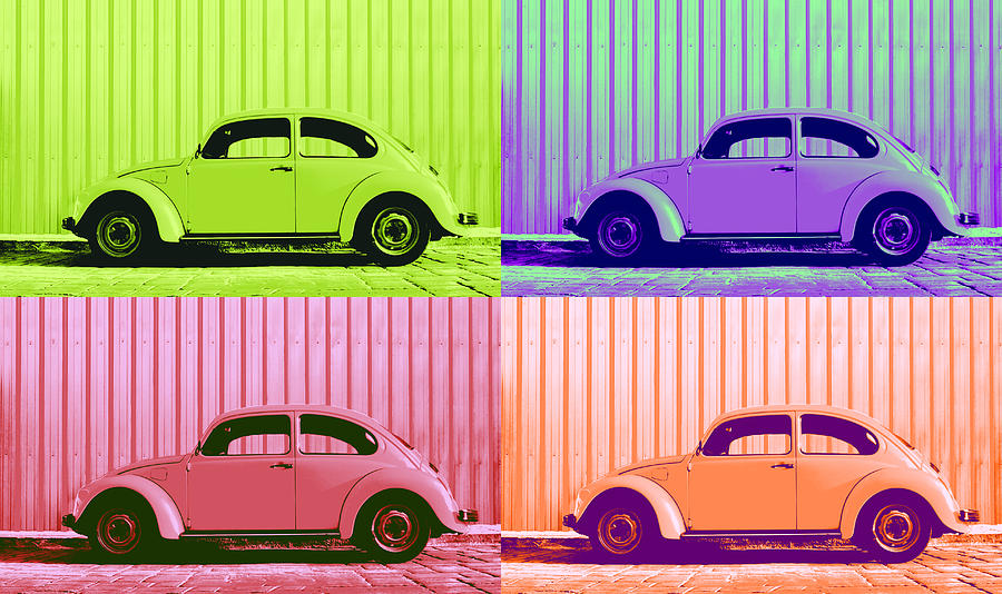 Classic Vw Beetle Car Pop Art Colors 4 Four Square Stripes Blue Purple Lime Green Orange Red Series Gallery Collage Fun Happy Bright Vibrant Pastels Color Colorful Colourful Uplifting Sunny Lively Metallic Sheet Metal Wall Lines Rivets Cobblestone Street Art Gift For Classic German Car Pop Art Lover Laura Fasulo Laurarama Samsung Galaxy Phone Case Iphone Cases Vw Pop Spring Photograph - Vw Pop Spring by Laura Fasulo