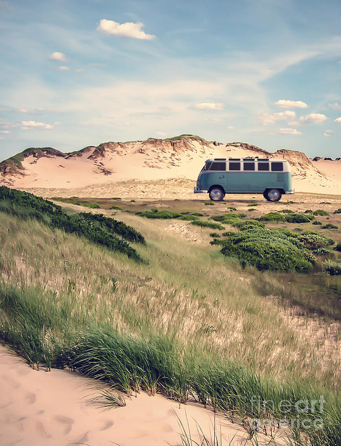 Dunes Photograph - Vw Surfer Bus Out In The Sand Dunes by Edward Fielding