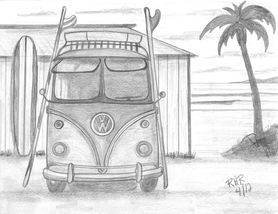 Vw Bus Drawing - Vw Surfing Bus by Ray Ratzlaff