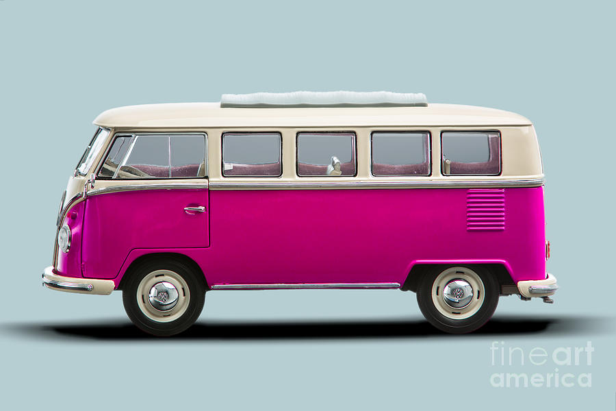Vw T1 Bus Bully Camper In Pink On Grey Photograph By