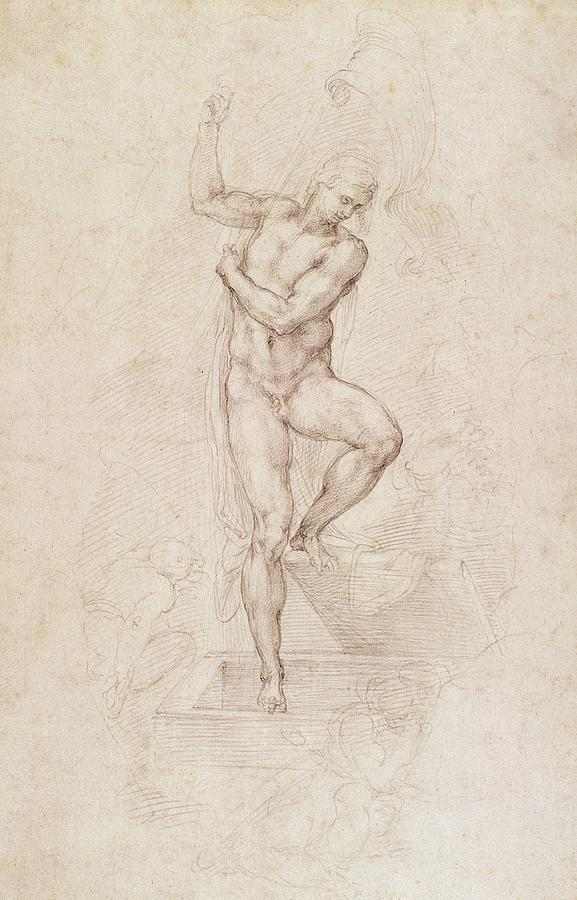 Drawing Painting - W53r The Risen Christ Study For The Fresco Of The Last Judgement In The Sistine Chapel Vatican by Michelangelo Buonarroti