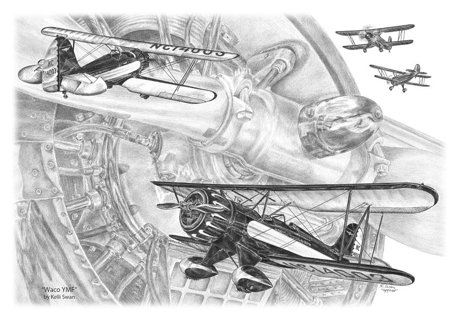 Waco YMF - Vintage Biplane Aviation Art by Kelli Swan