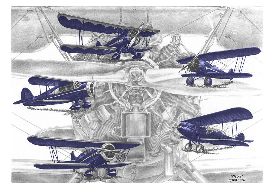 Wacos - Vintage Biplane Aviation Art with color by Kelli Swan