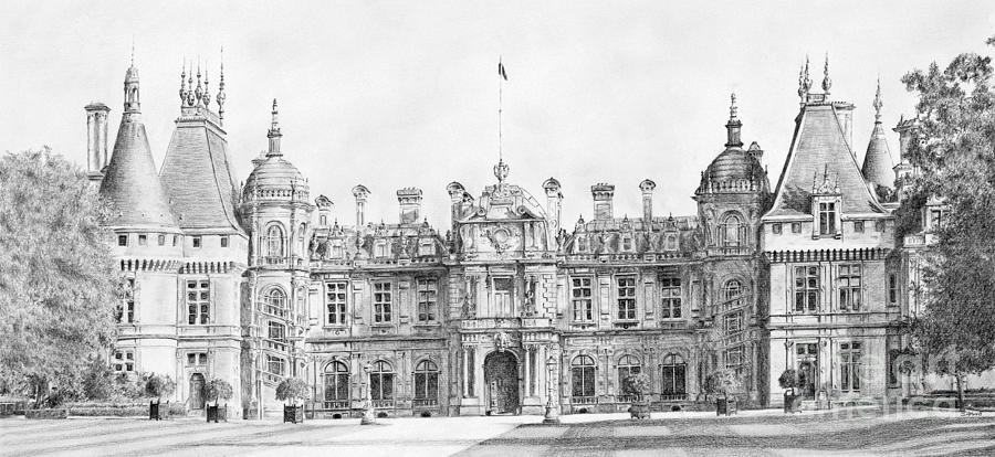 Pencil Drawing - Waddesdon Manor by Stuart Attwell