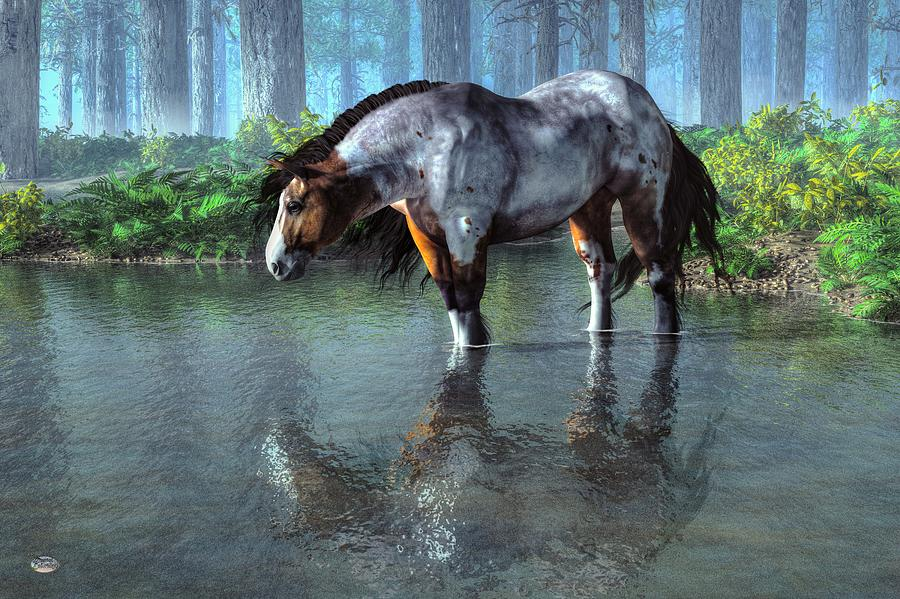 Mustang Digital Art - Wading Horse by Daniel Eskridge