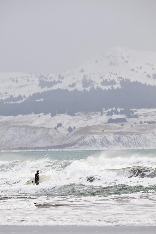 Alaska Photograph - Wading Into Winter Surf by Tim Grams
