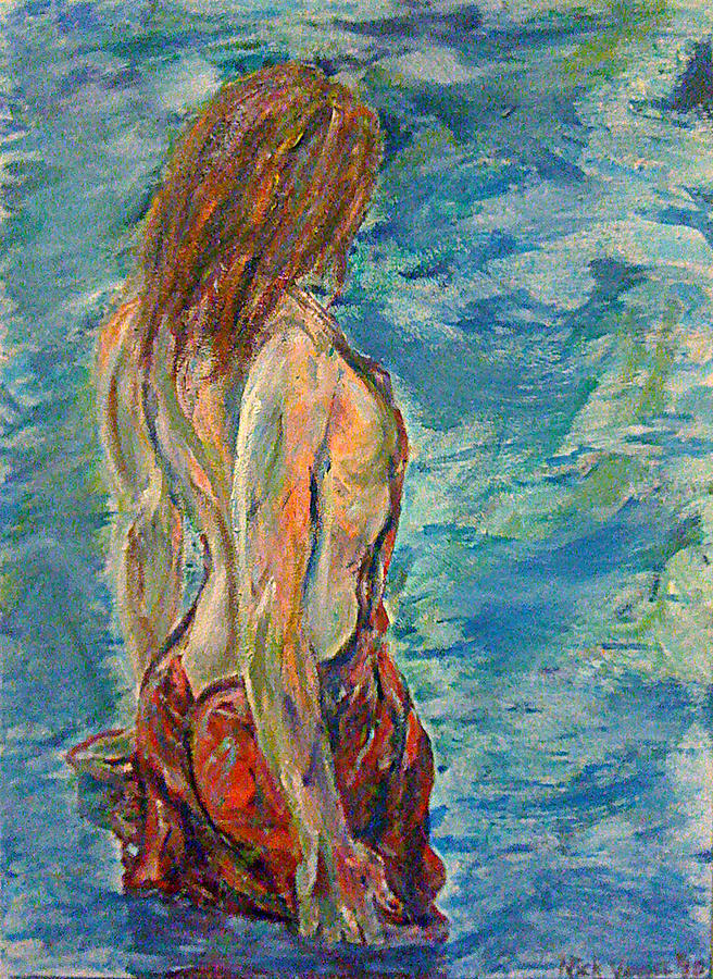 Woman Painting - Wading by Nick Vogel